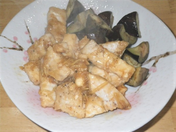かじきとなすの中華風生姜焼き